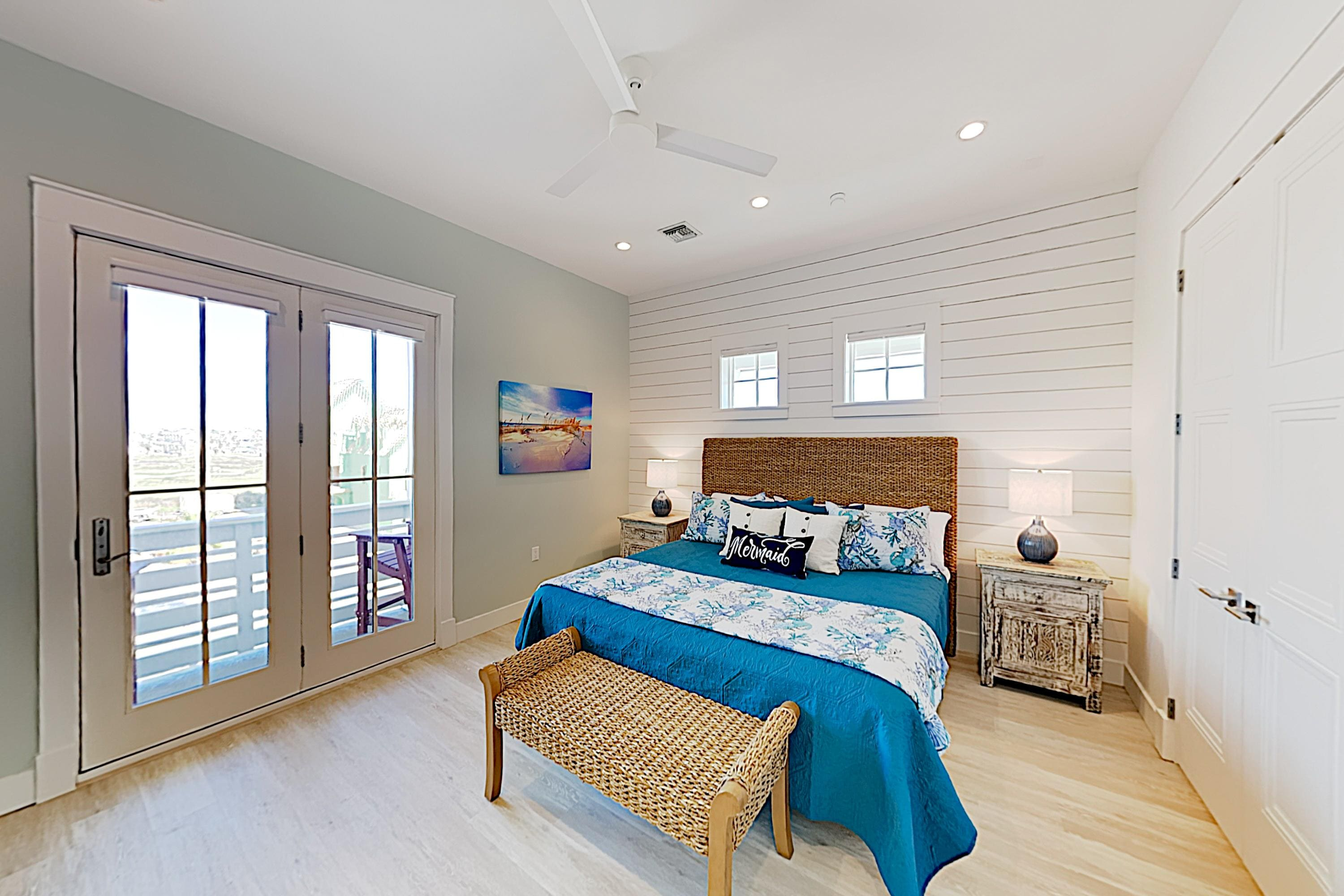 Sleep soundly in the master bedroom, featuring a king-size bed.