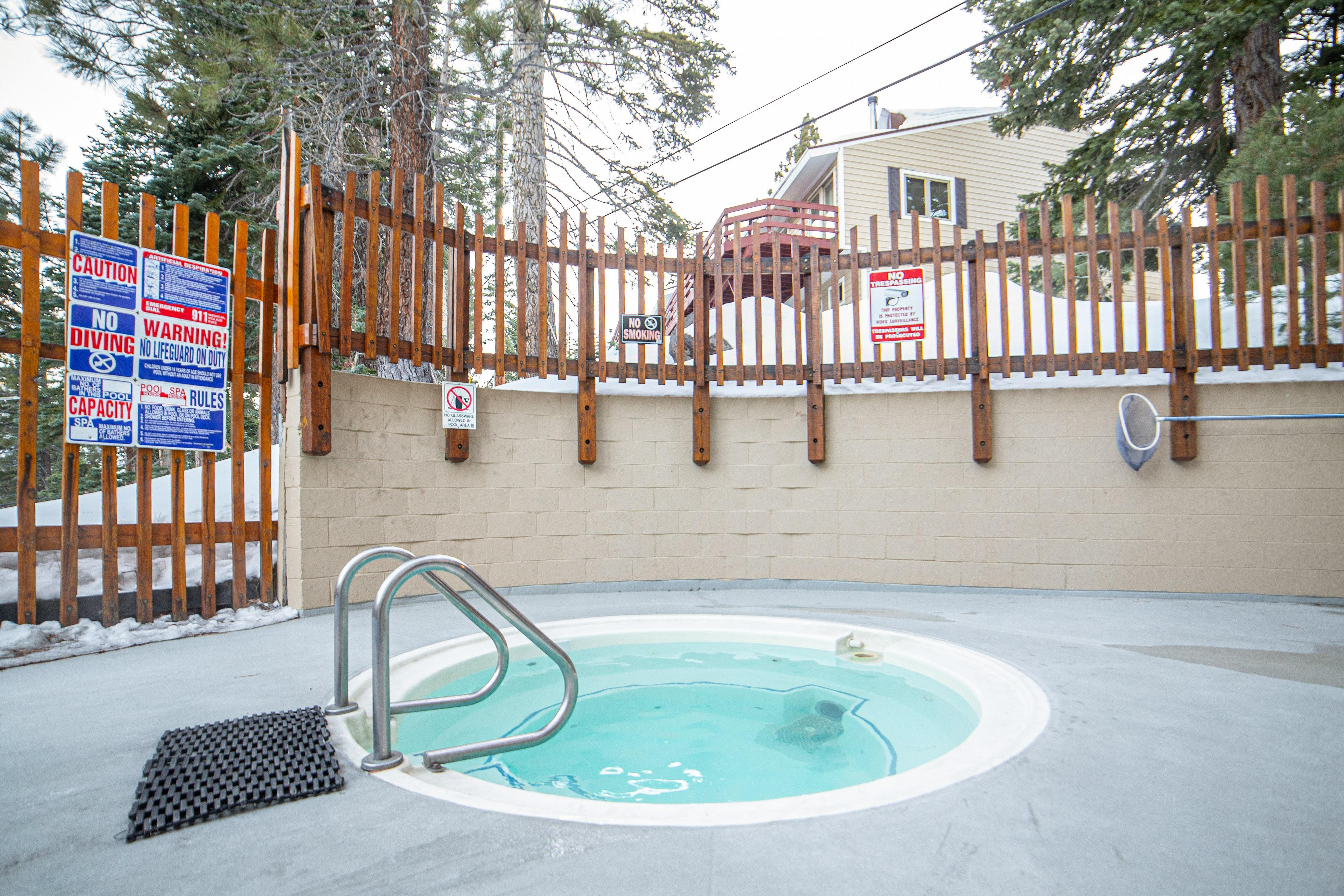 Relax in the shared hot tub, a short walk from your door.