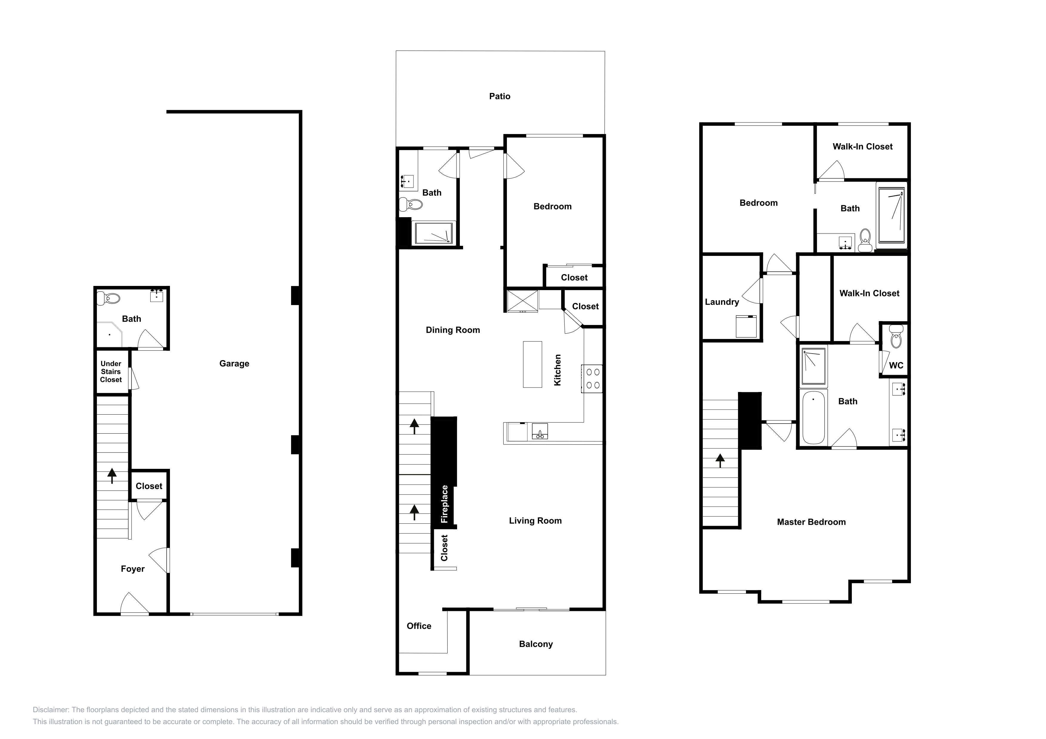 This 3-story floor plan is an approximation and may not include the most recent information.