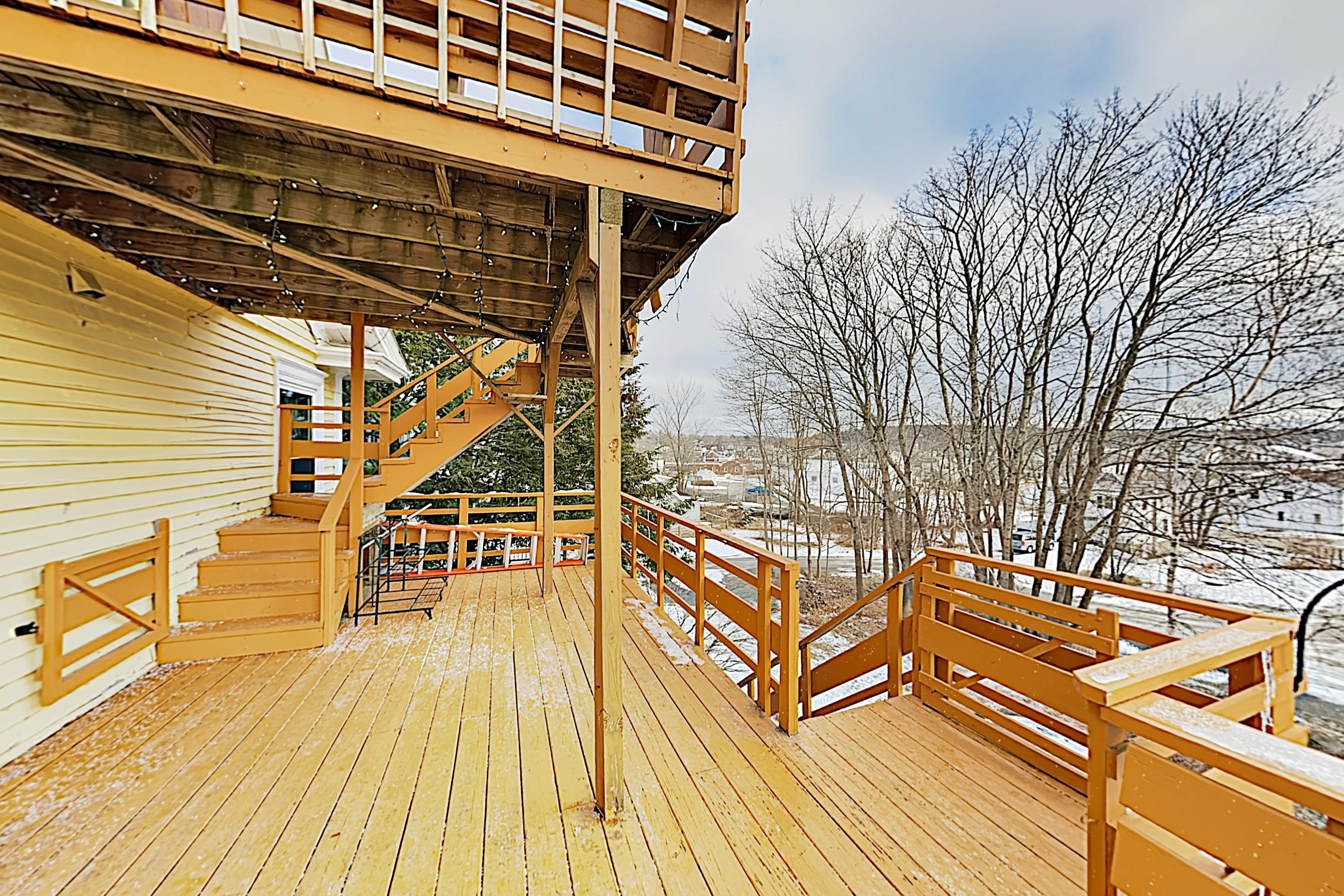 Soak up the sun on the wooden deck.