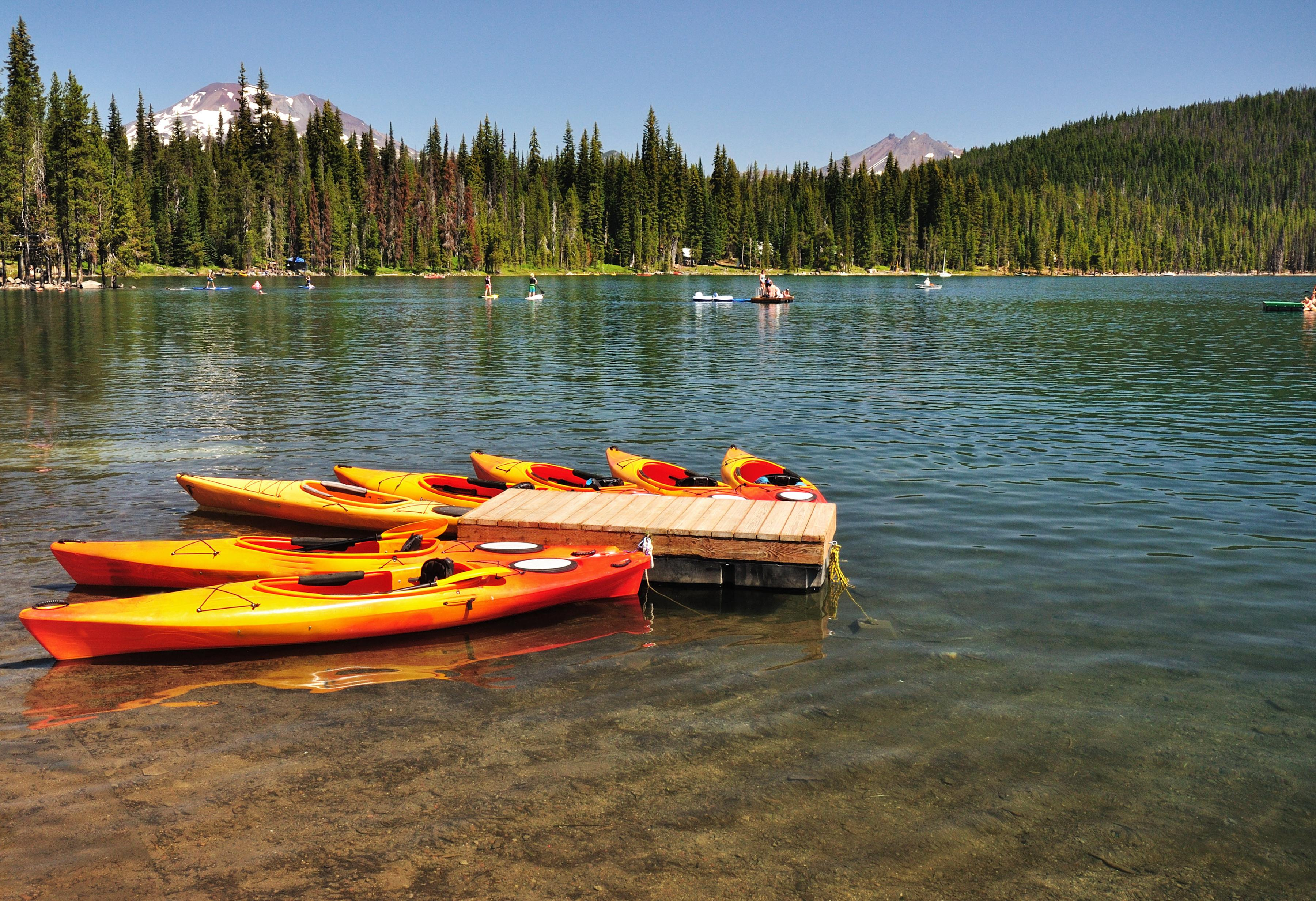 Launch a paddleboard or kayak for an aquatic adventure.