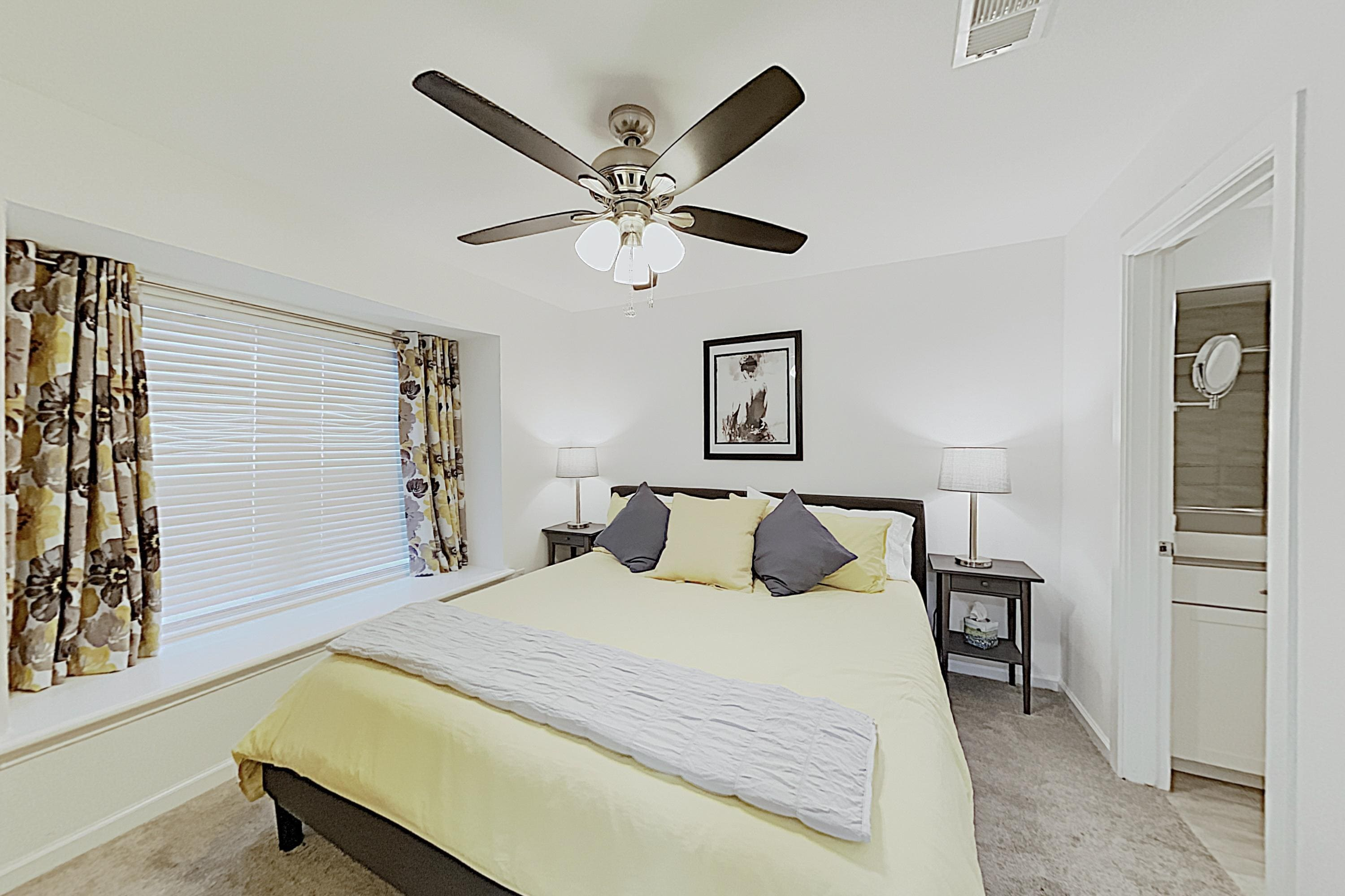 Sleep soundly in the master bedroom on a king bed.