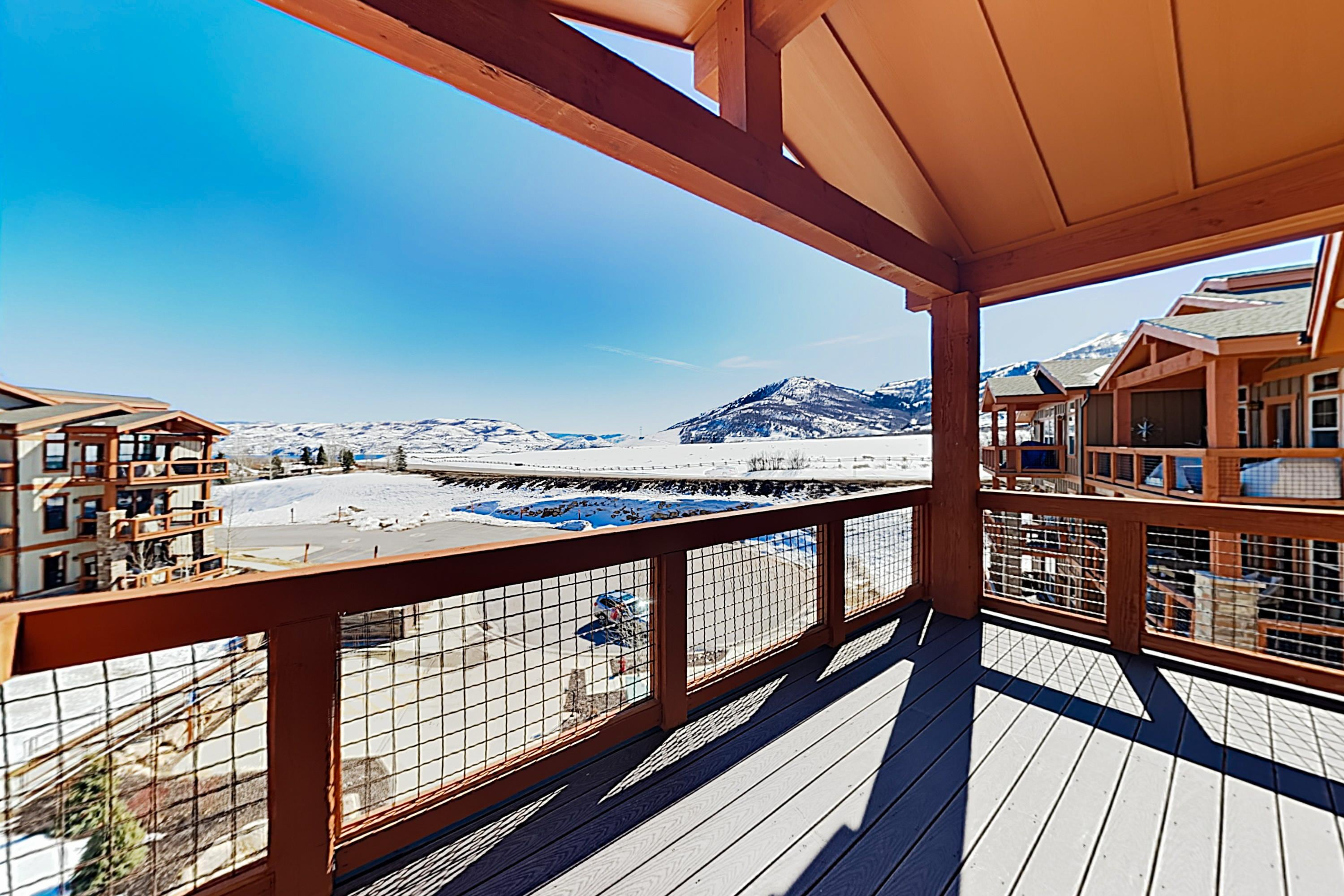 Incredible mountain views await on the covered balcony.