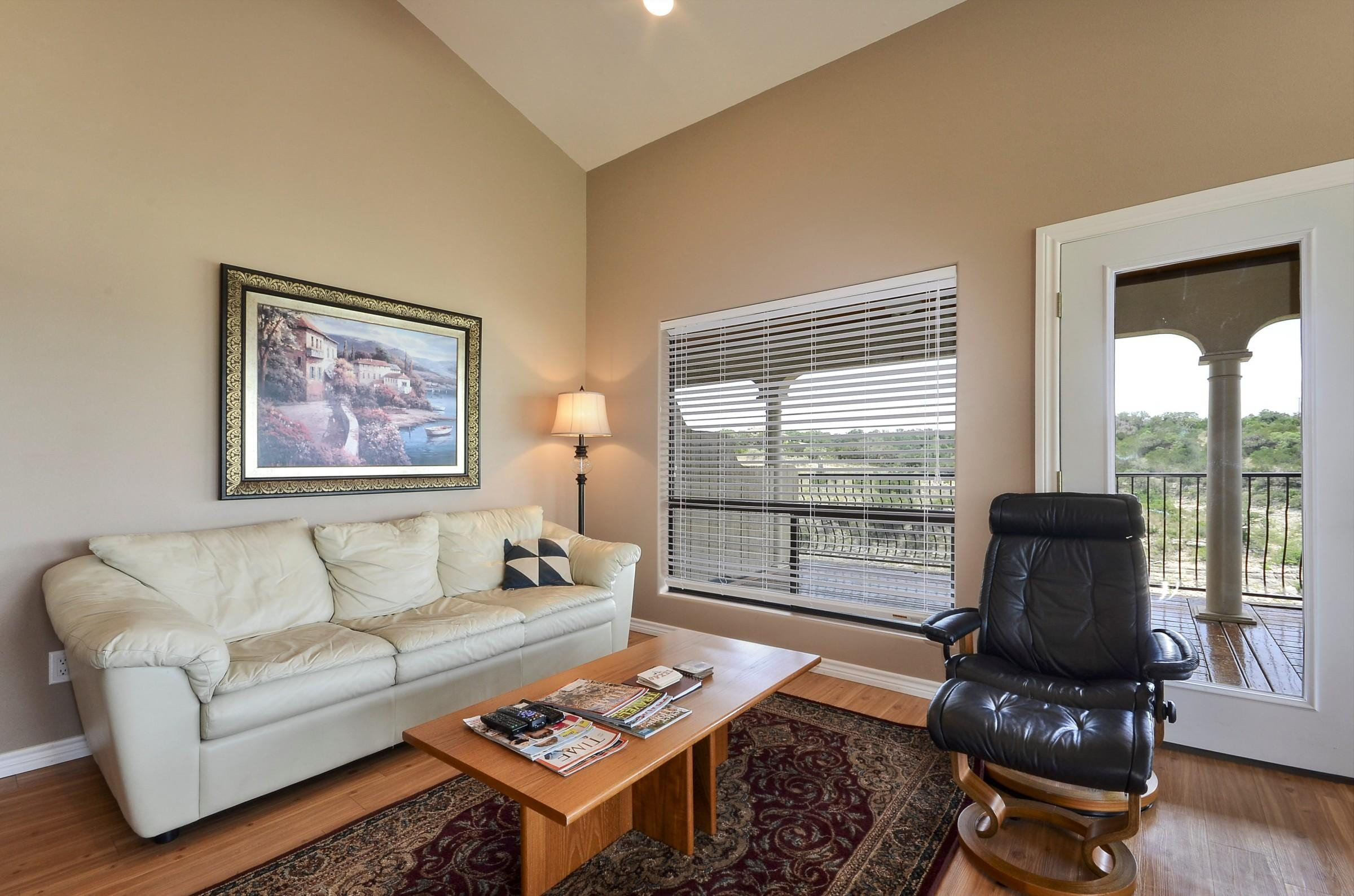 Enjoy the open and spacious living area with vaulted ceilings.