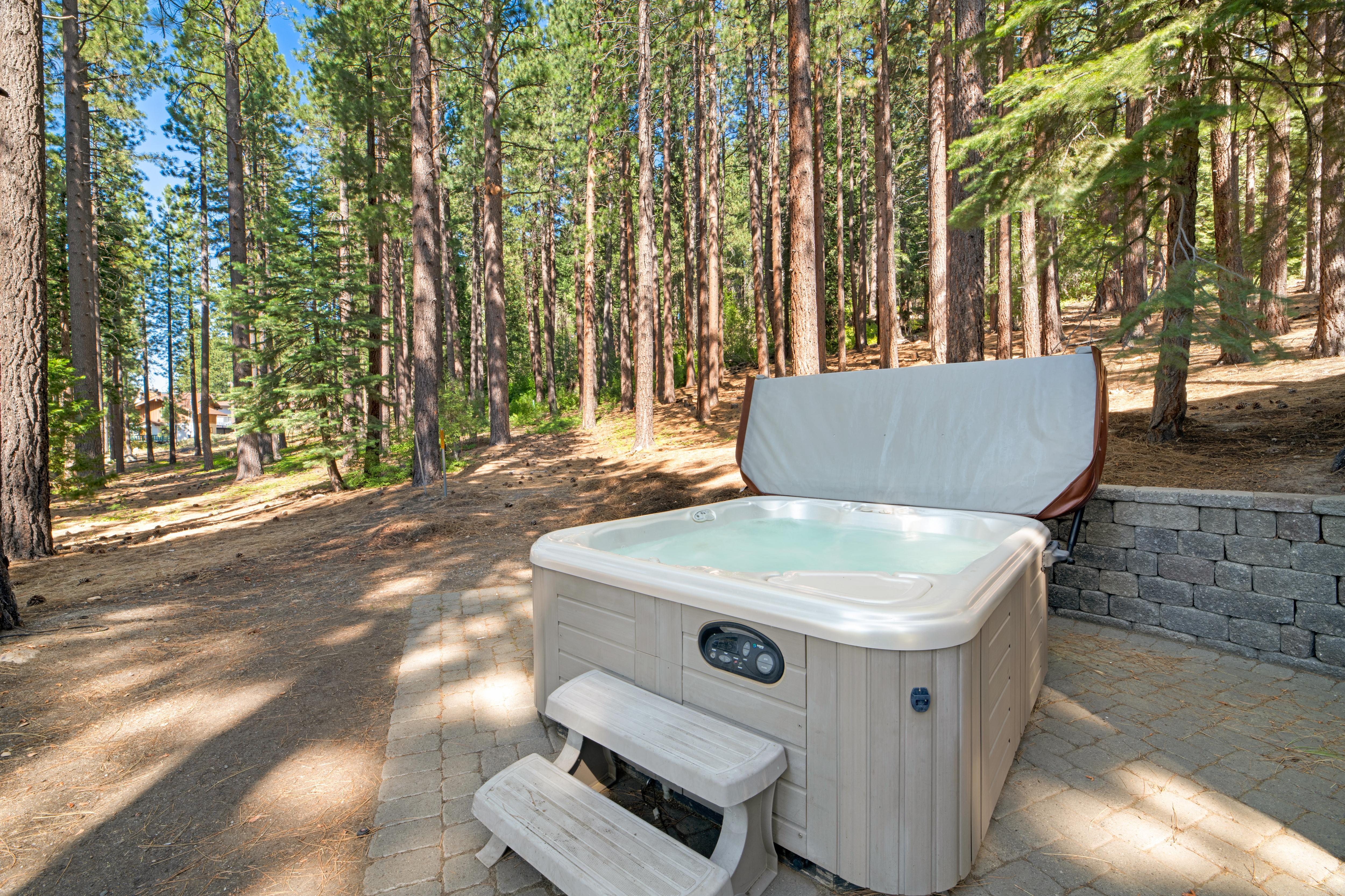 Soak in the hot tub after a day of adventure.
