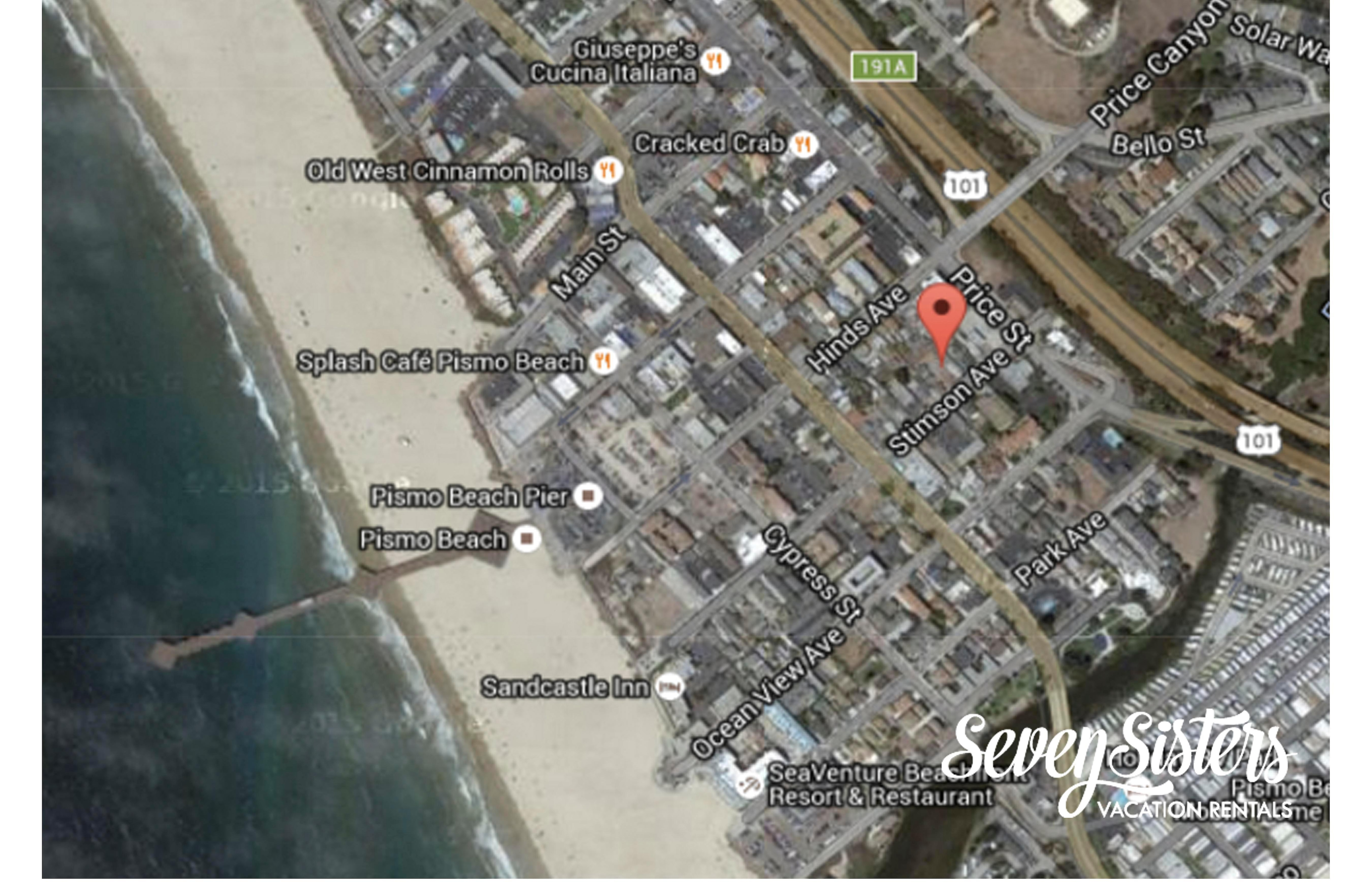 Located just two blocks from Pismo Pier.  Easy walk carrying your surf board.
