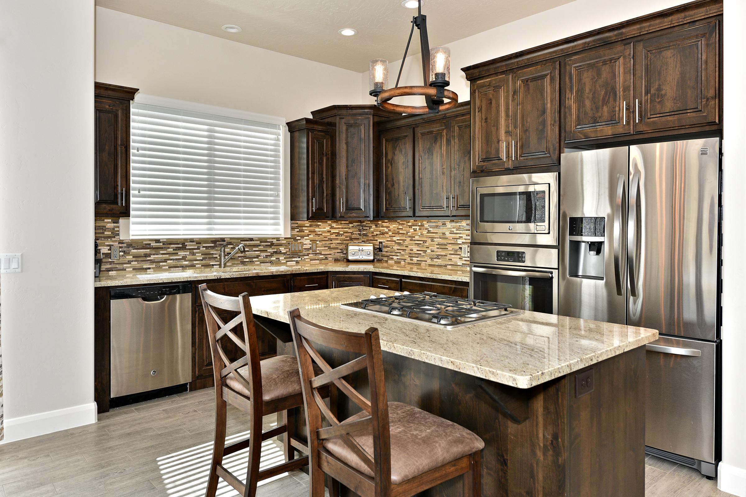 The Kitchen Island seats 2 adults and creates a great space for serving and preparing meals.