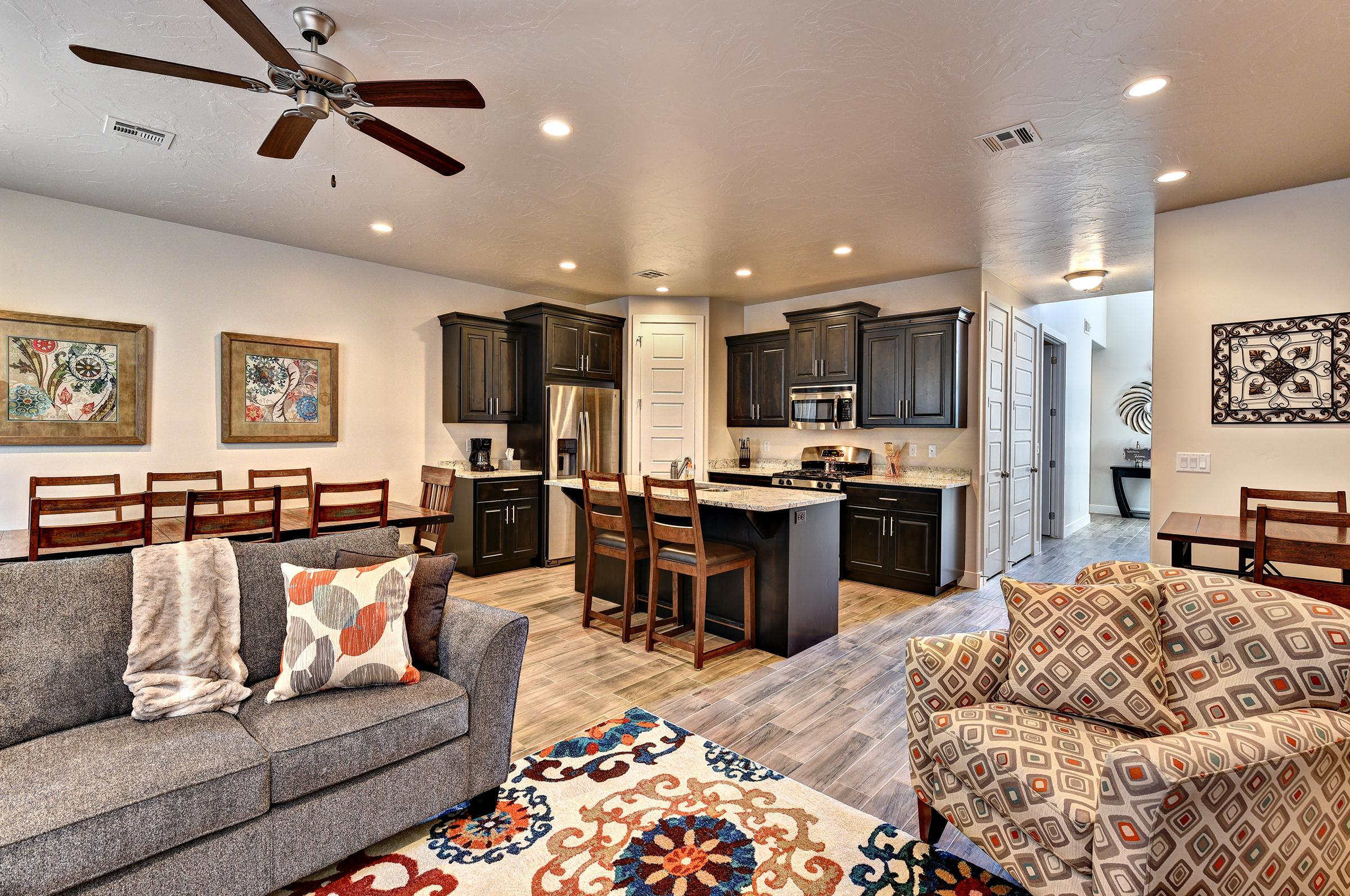 The Living Room is conveniently located adjacent to the Kitchen and Dining Table and is a great place for entertaining guests during downtime.