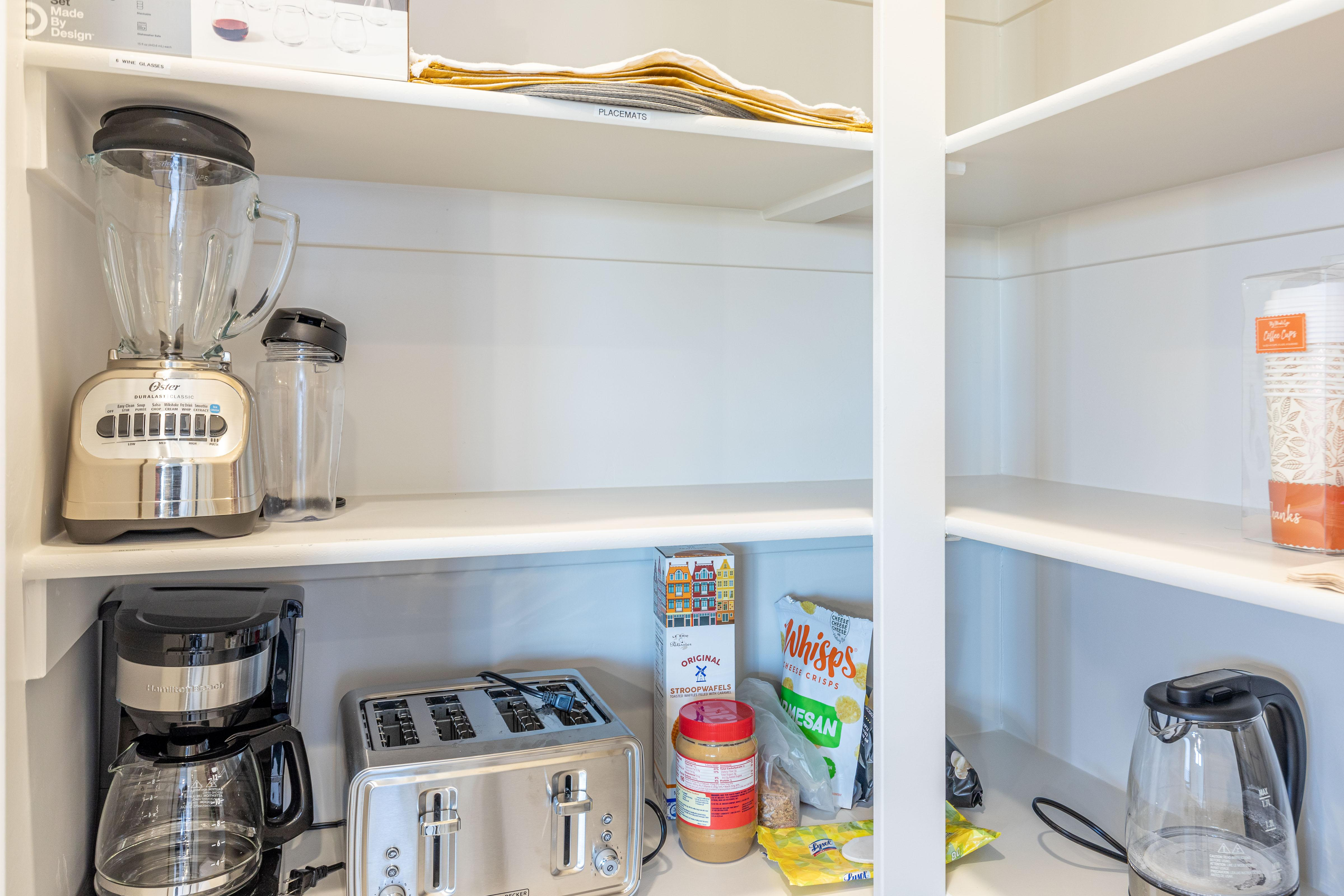 The pantry shows the appliances available for your use.