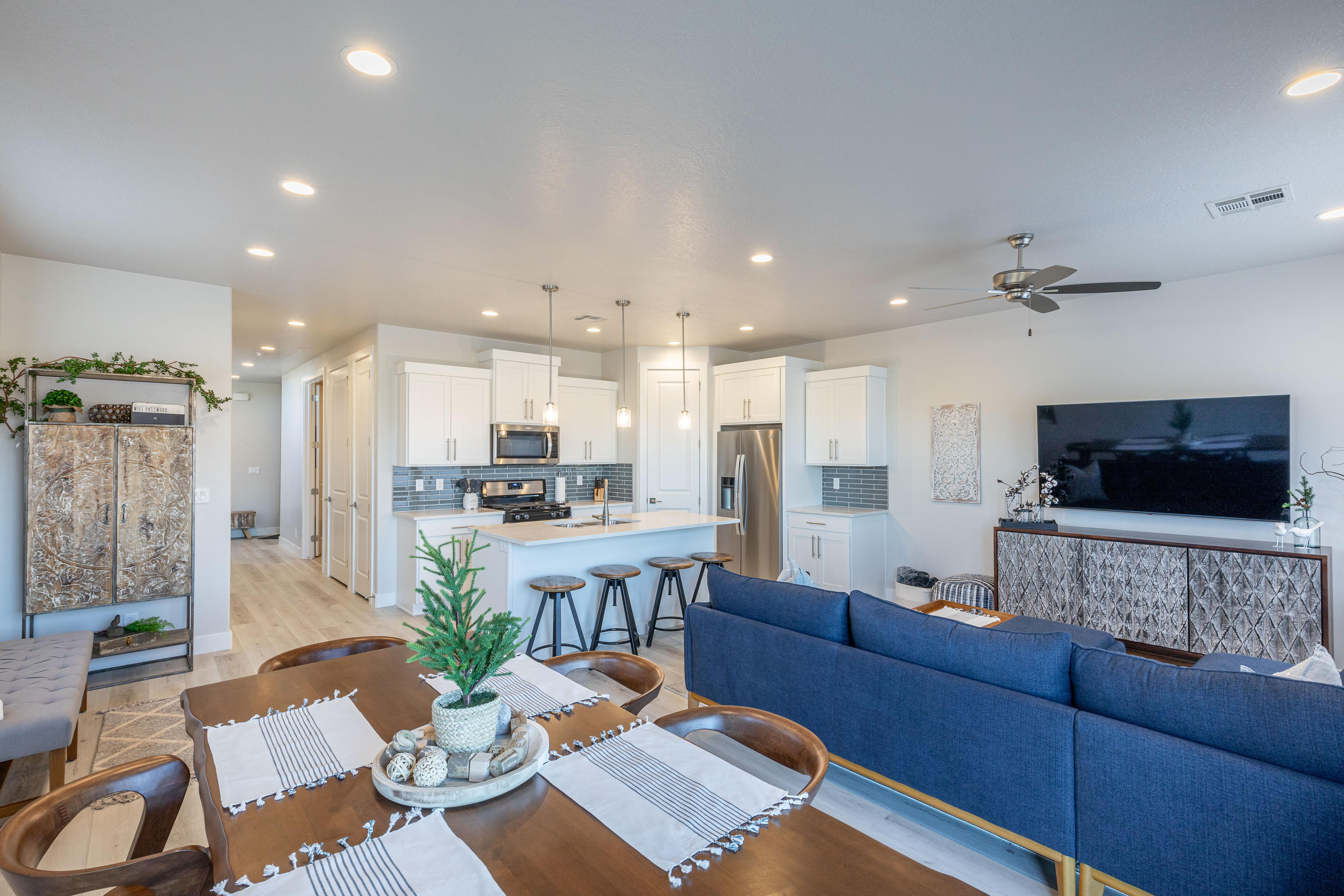 With an open and spacious floor plan, the Dining Room and Kitchen can accommodate meal preparations for groups large or small.