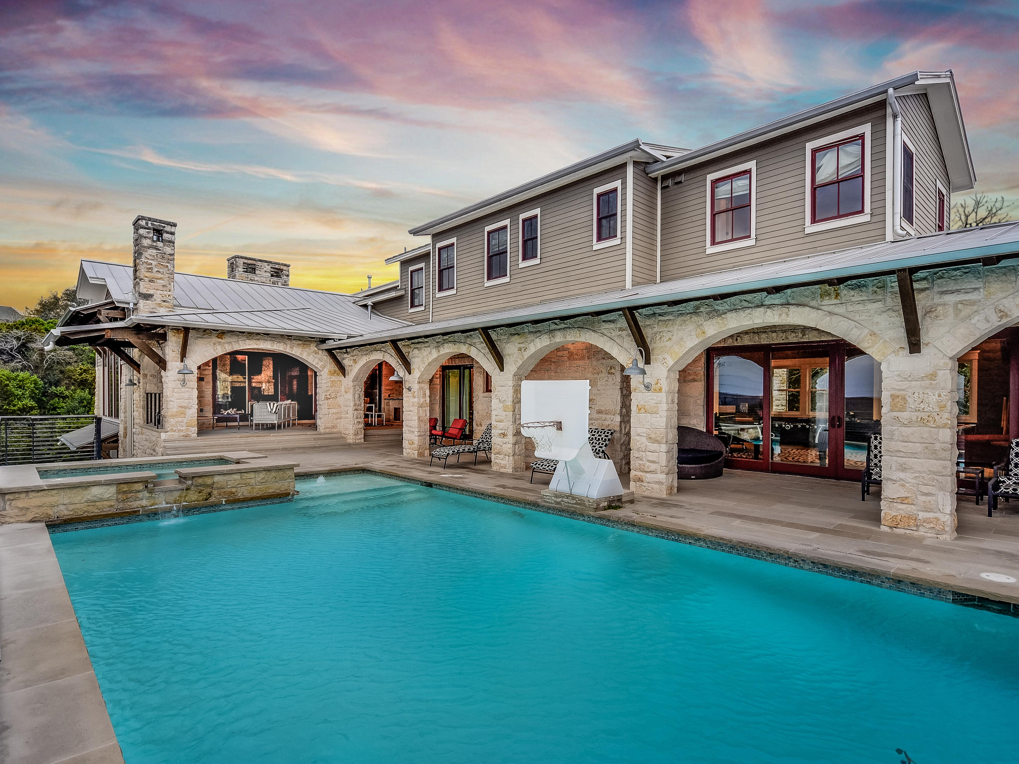 The wonderful pool which is the best part of the house. Enjoy the outdoor living area while grilling, swimming, and taking in the Texas Hill Country View!