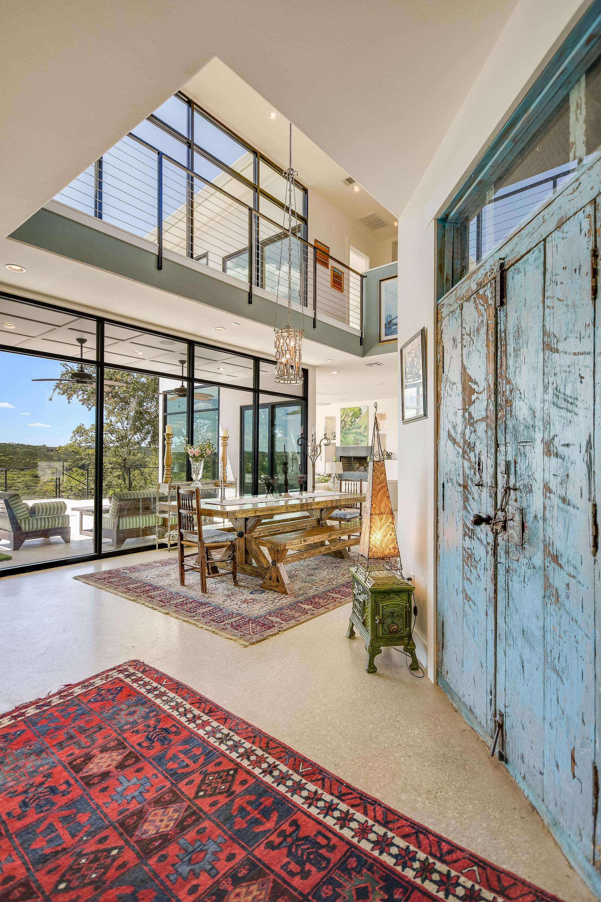 Spacious dining room area with views of the hill country