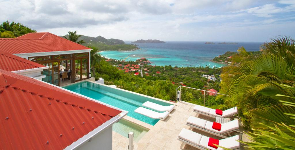 Multilevel Hillside Villa with Stunning Views of Baie St. John and Islands