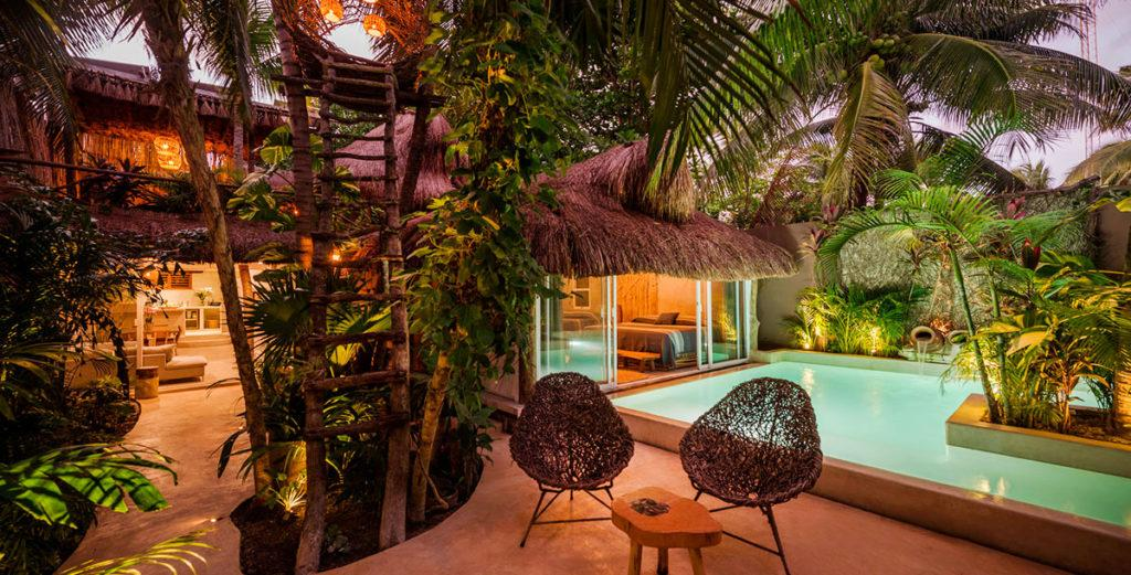 Mayan-Inspired Rustic Home with Natural Swimming Pool