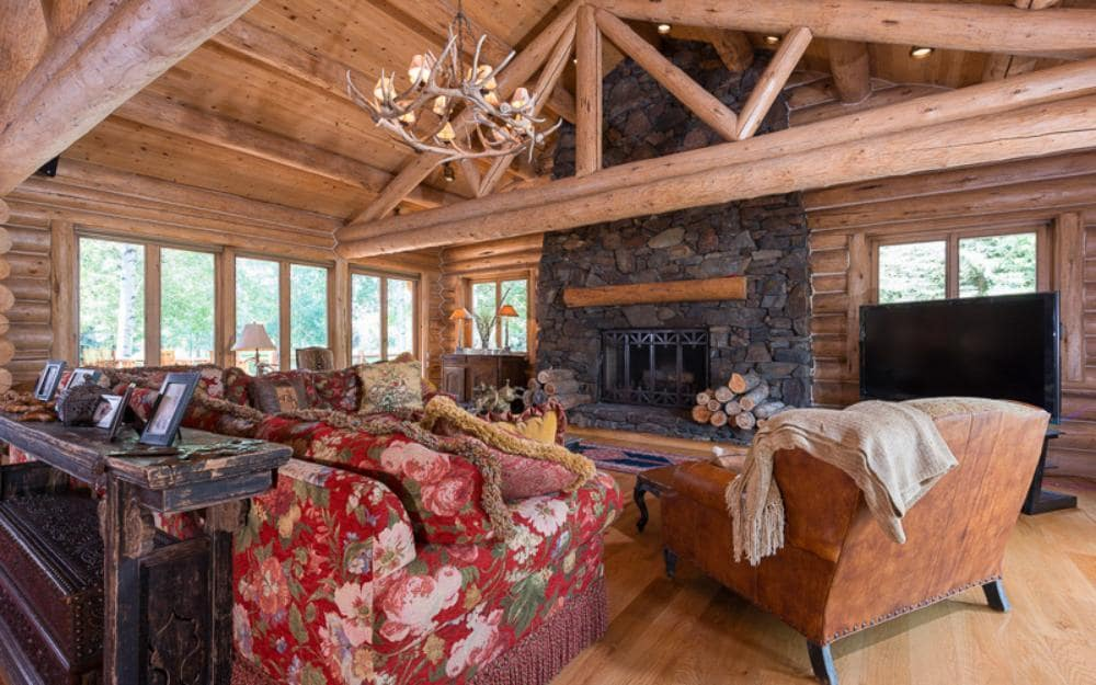 Log Cabin on Sprawling Grounds with Outdoor Fireplace