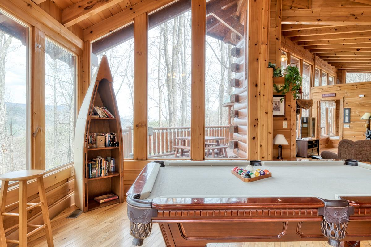 Property Image 1 - Charming Treetop Cabin with Pool Table and Hot Tub