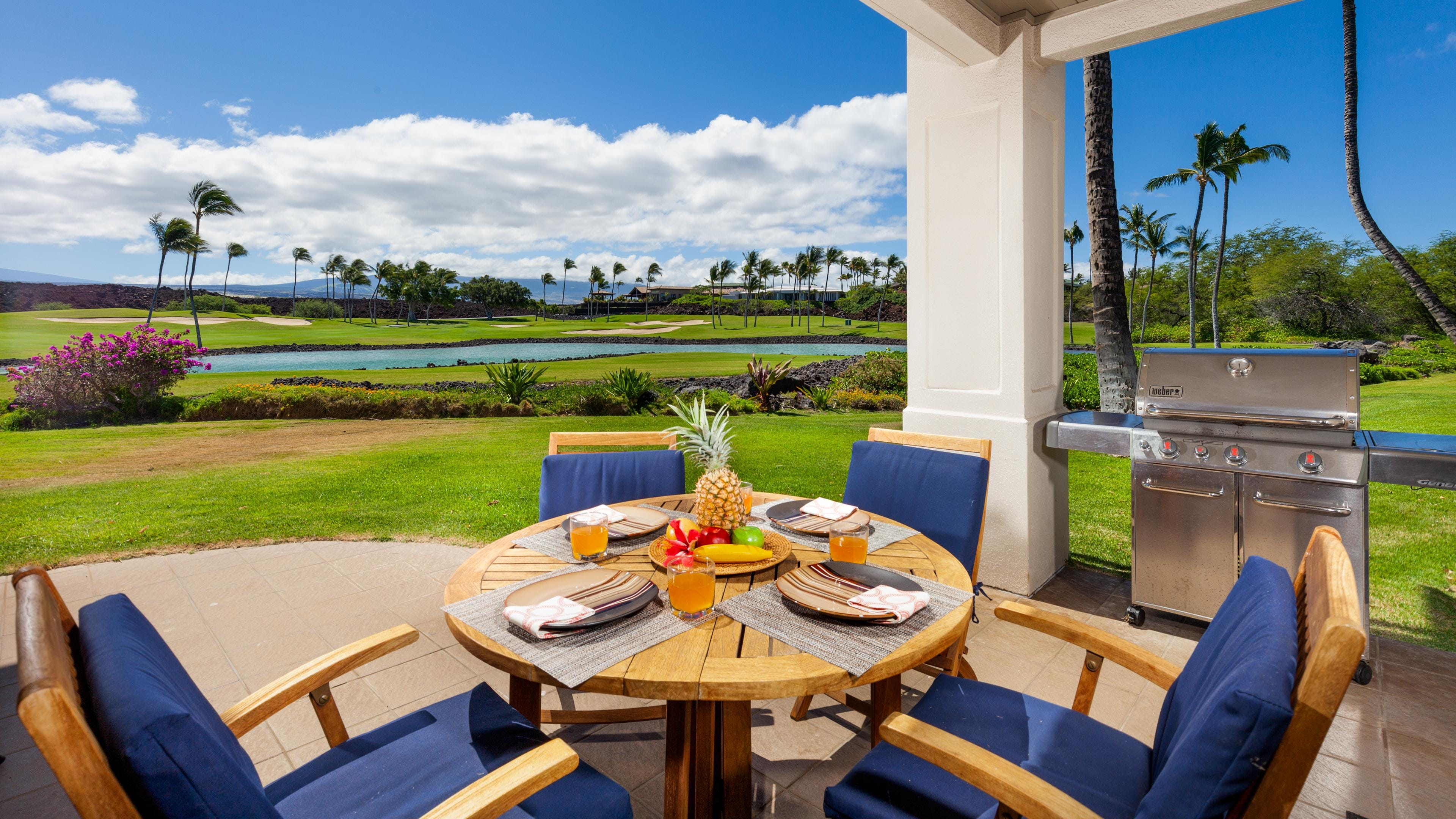 Enjoy a nice meal on Lanai grilled on the high-end Weber Grill