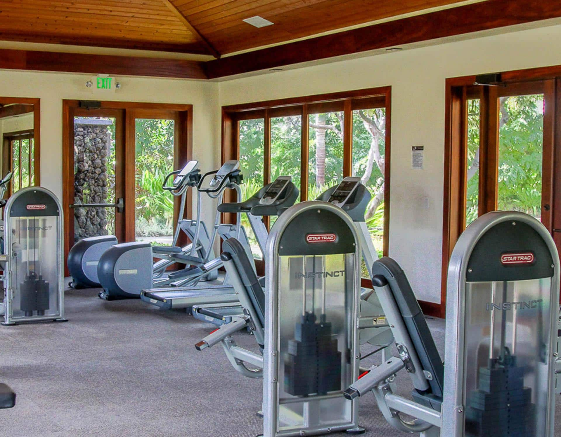 Large Fitness Center overlooking Pools and Gardens