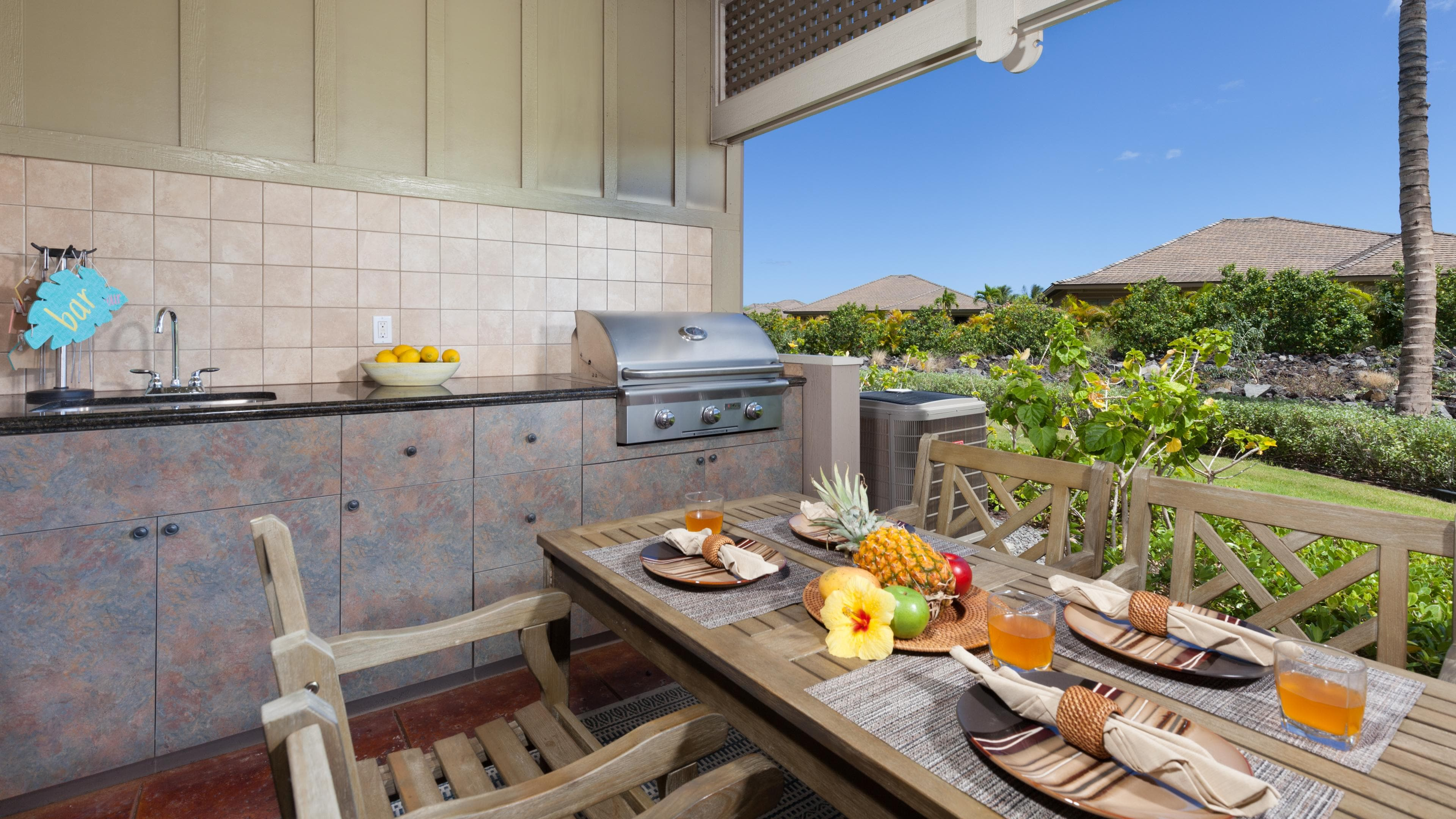 Private outdoor kitchen and grill