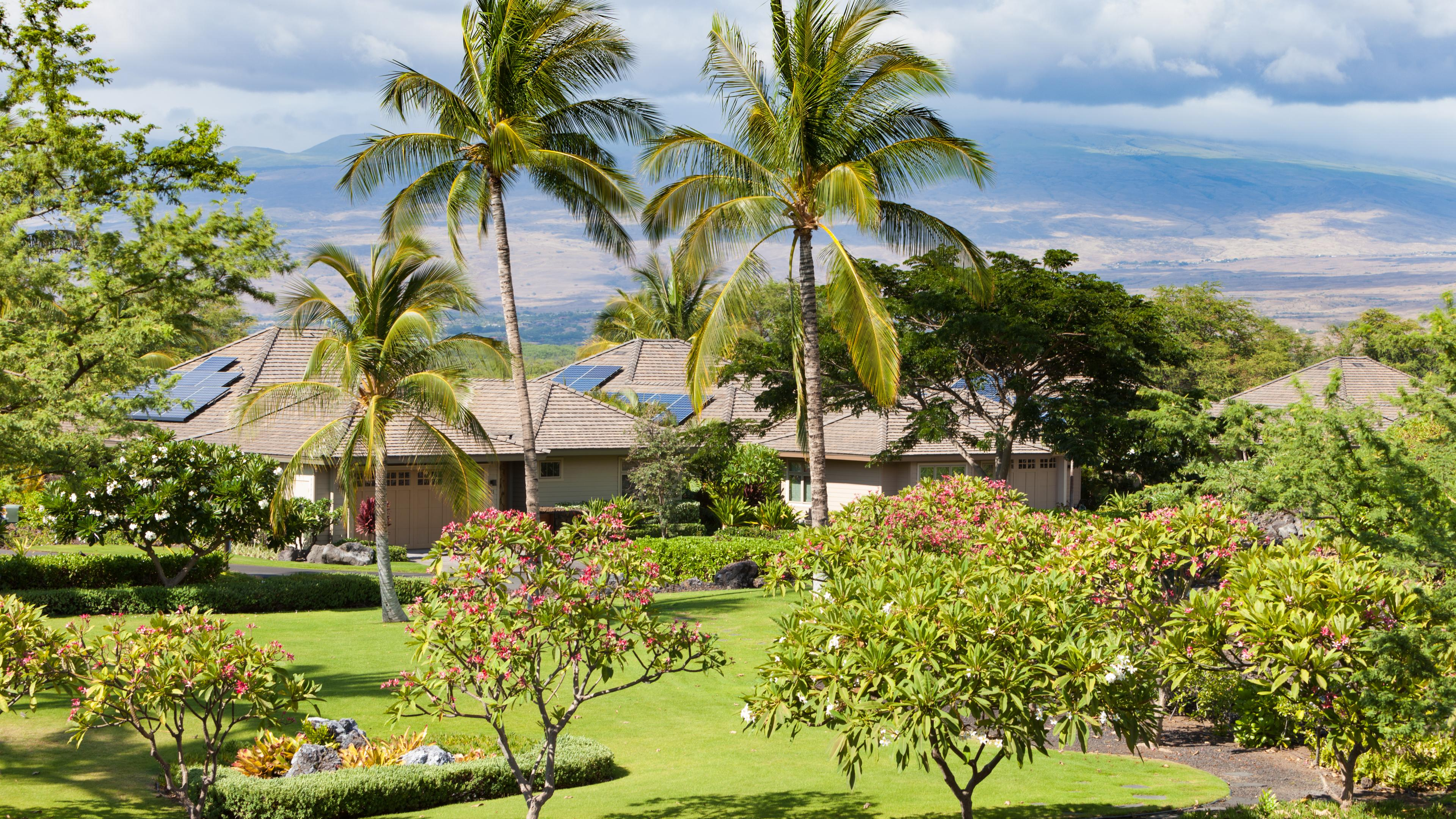 Overlooking the putting green and gardens and Kohala Mountain
