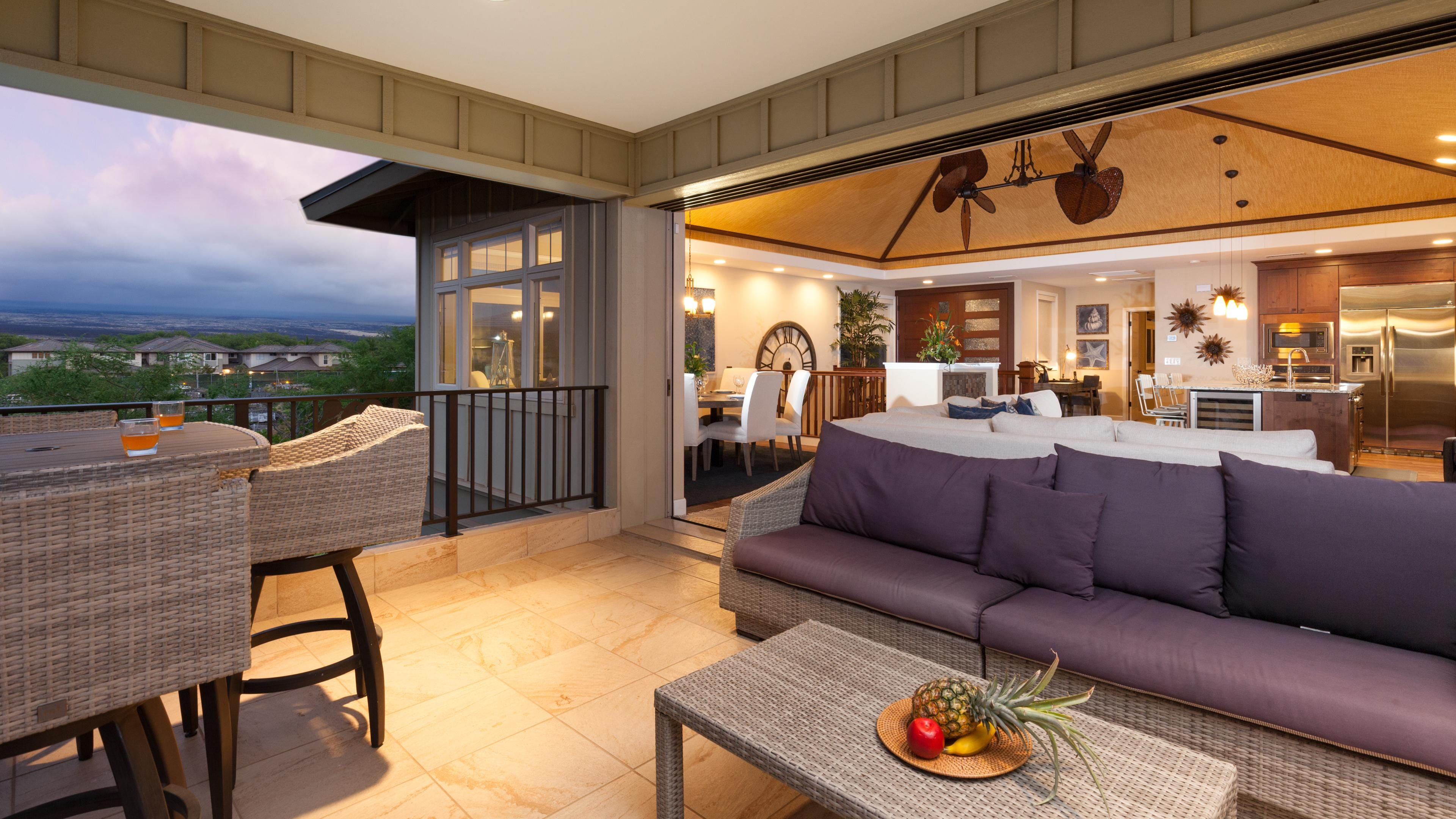 Large covered lanai with 14 foot pocket doors
