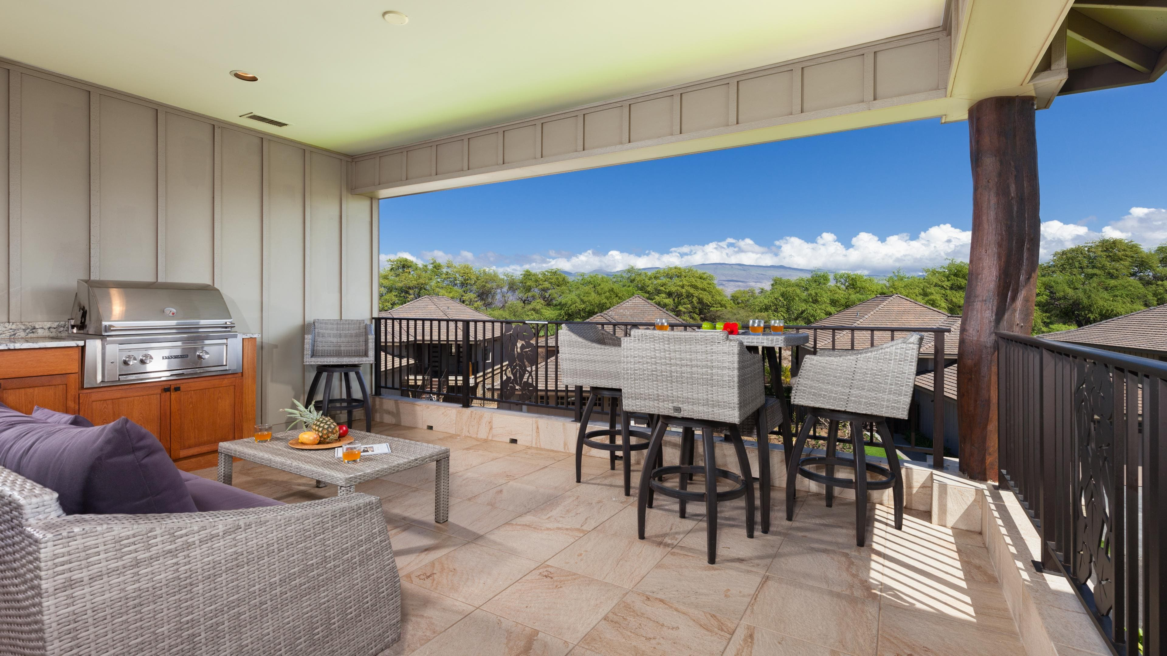 Welcome to Hawaiian Bliss in the beautiful KaMilo community at the Mauna Lani resort - Outdoor living on covered lanai with private grill