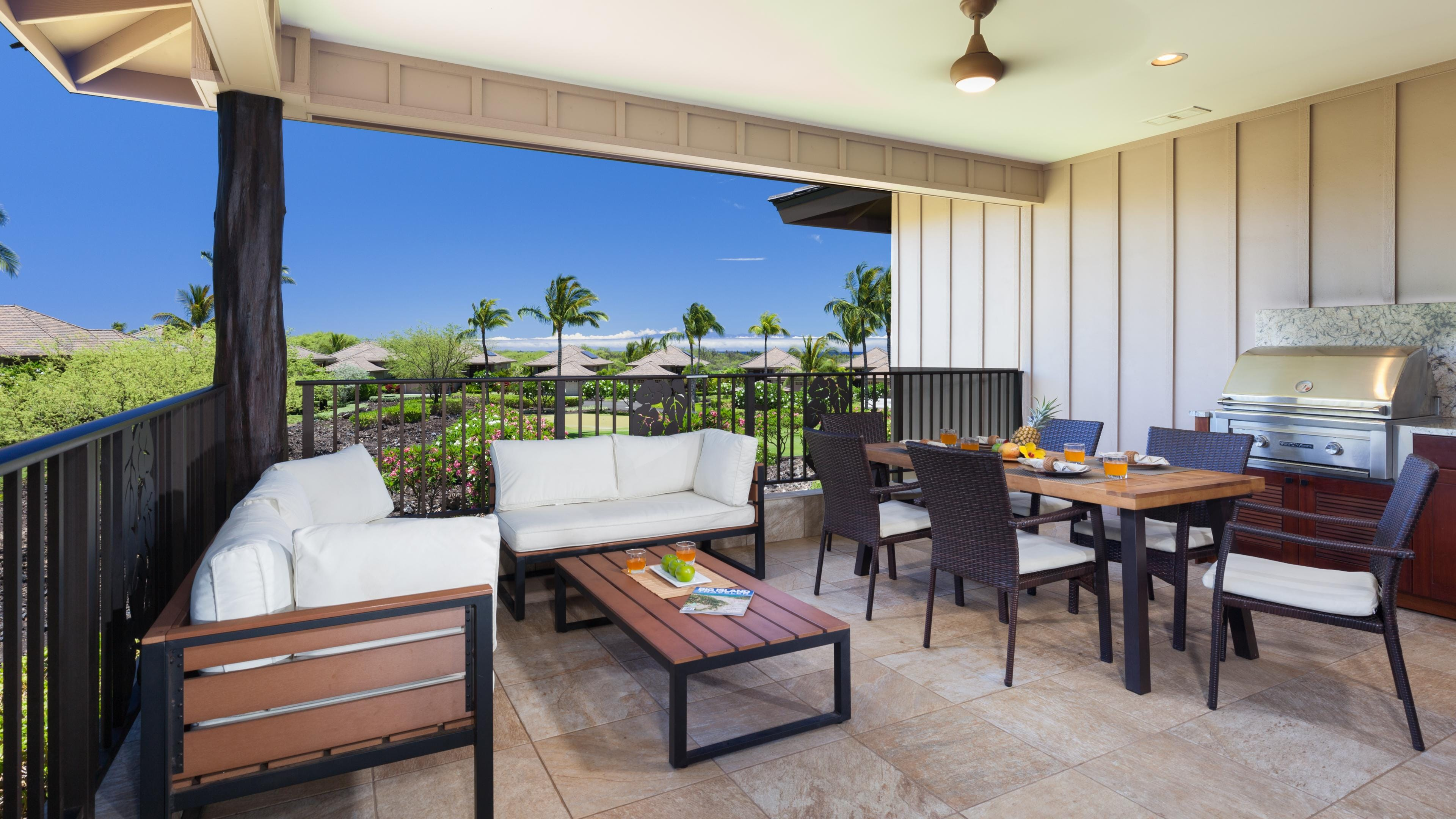 Large covered lanai with private grill