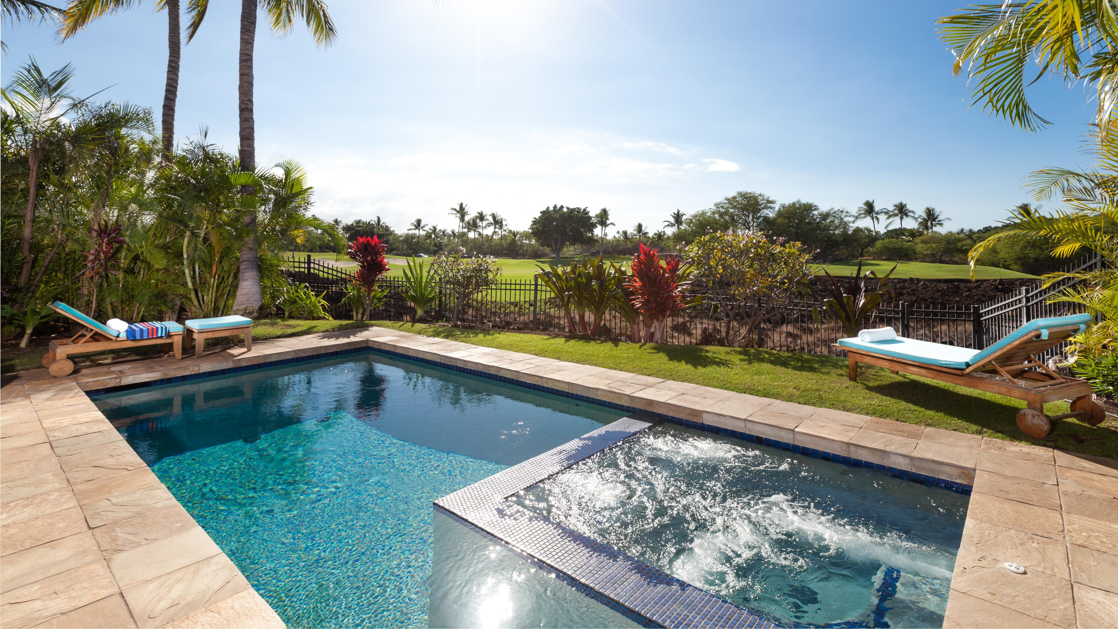 Private pool and spa overlooking the Mauna Lani Golf Course