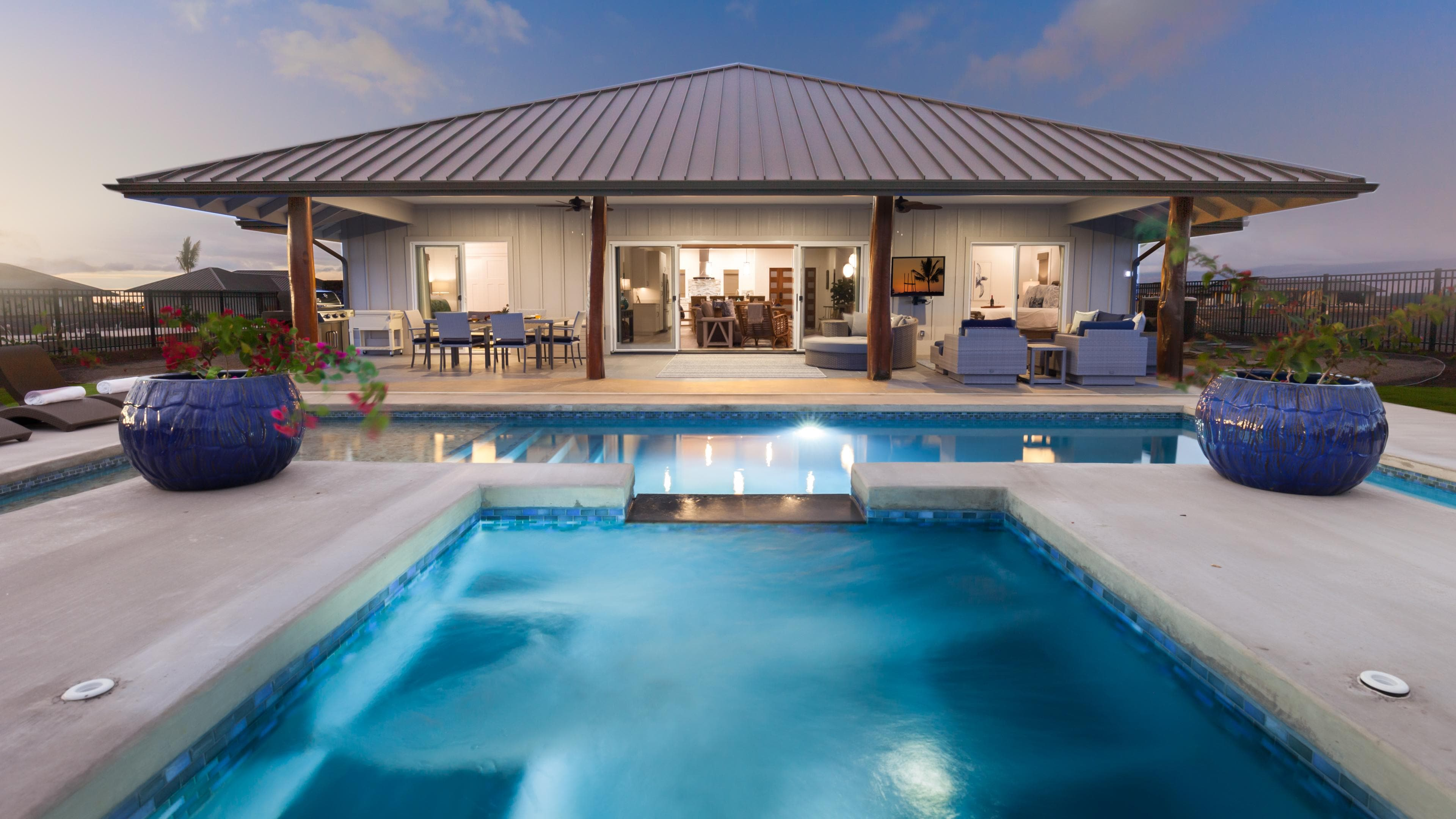 Large lanai with outdoor dining and living by the pool