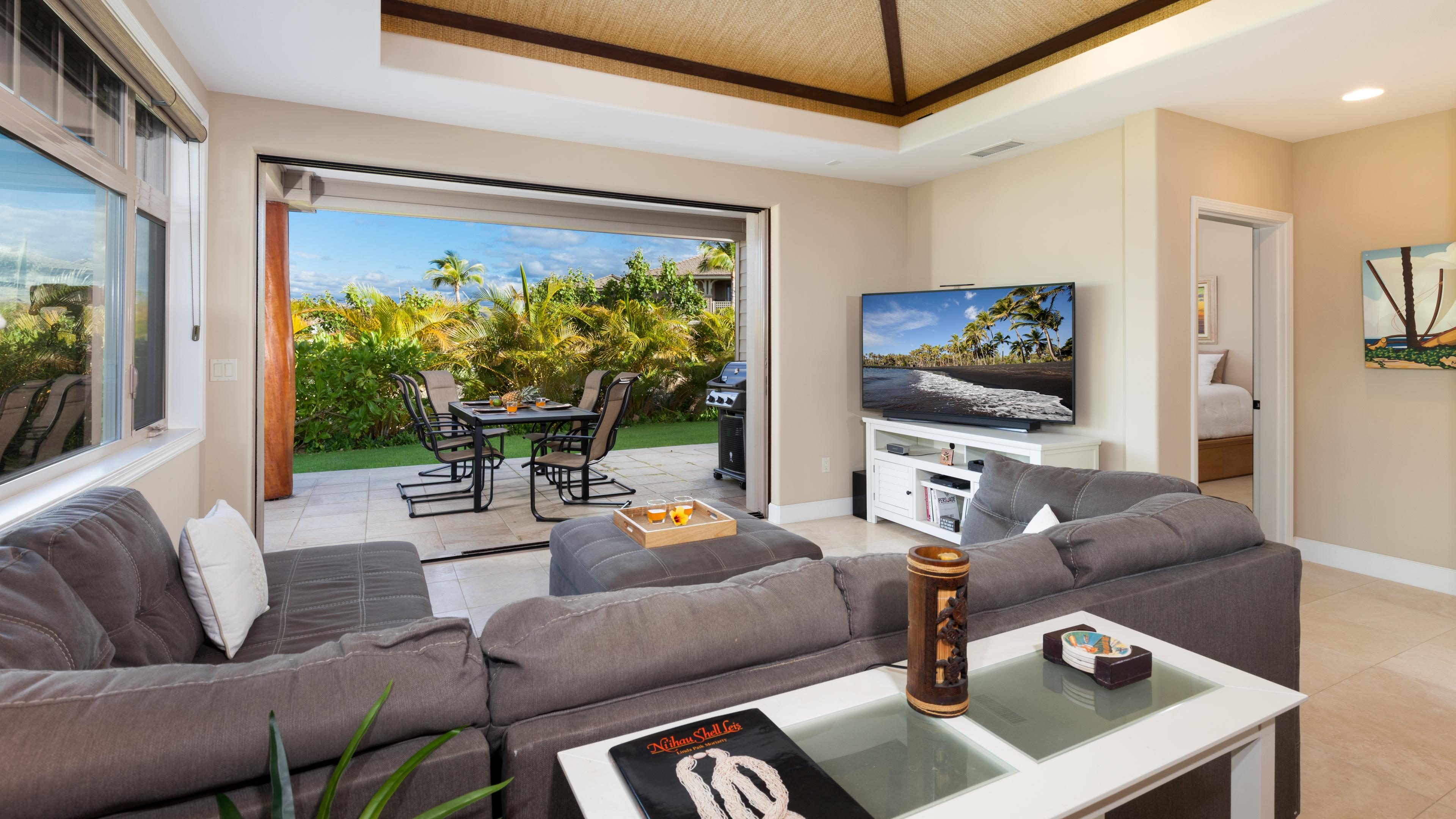 Pocket door lead from open concept living room to outdoors seamlessly