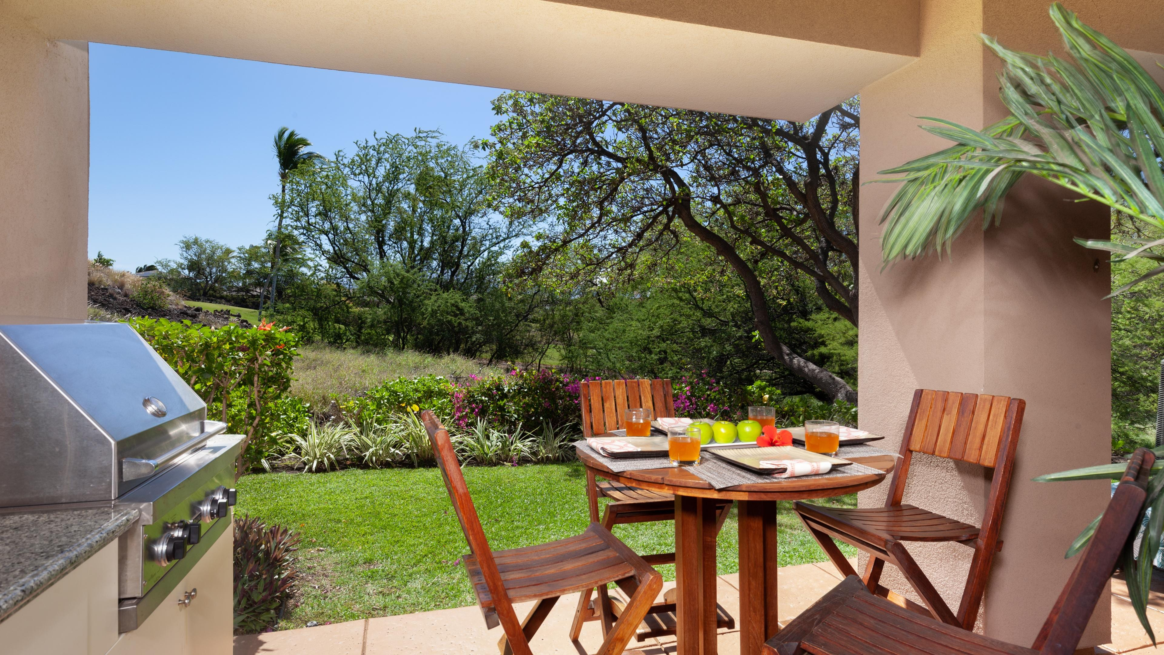 Covered lanai with private grill