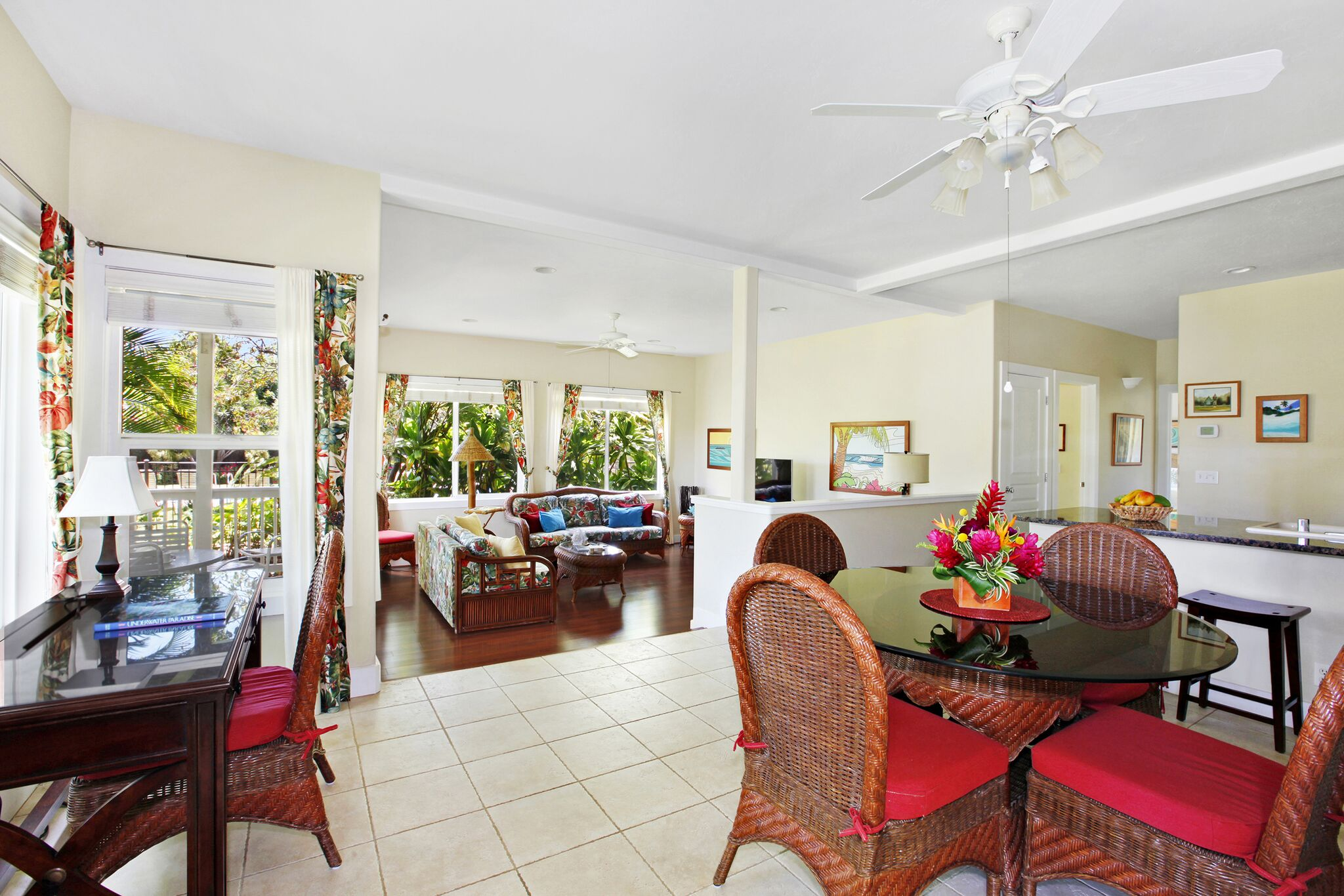 Well Appointed Poipu Getaway with Tropical Hawaiian Décor Throughout